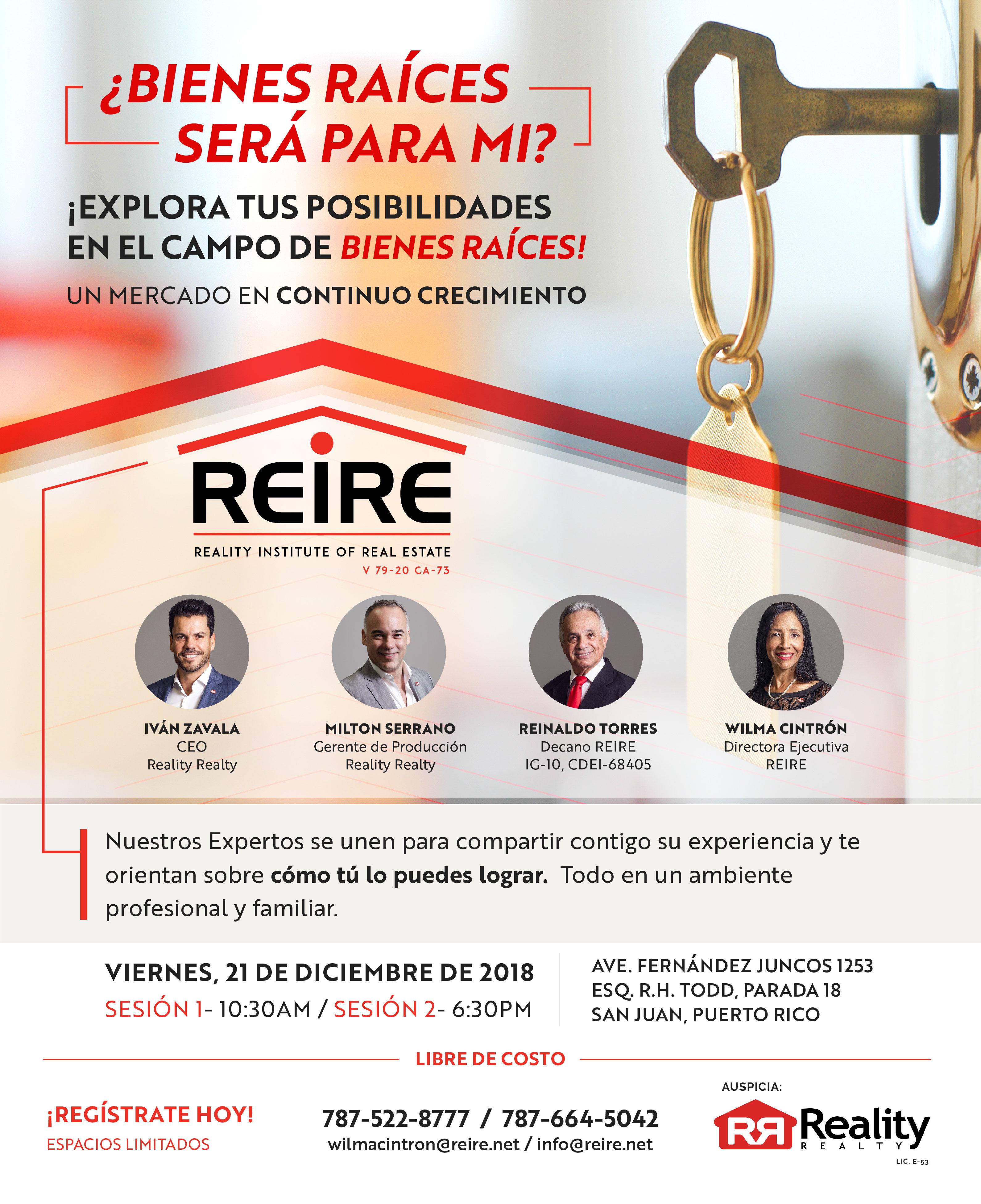 REIRE 2018 EVENTO 21 DE DICIEMBRE SERÁ PARA MI